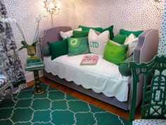 Color Plus Pattern Equals Joy- Divine emerald green and grey color palette accentuated with a great mix of pattern.
