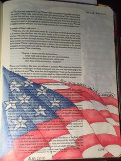Galatians 4:13. For freedom, Christ has set us free.  Sherrie Bronniman - Art Journaling: In My Bible