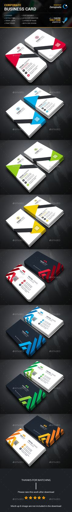 Buy Corporate Business Card Bundle by zeropixels on GraphicRiver. FEATURES: Easy Customizable and Editable Business card in with bleed CMYK Color Design in 300 DPI Resolut. Business Card Maker, Business Cards Layout, Letterpress Business Cards, Business Card Psd, Cool Business Cards, Custom Business Cards, Business Card Design, Corporate Business, Corporate Identity