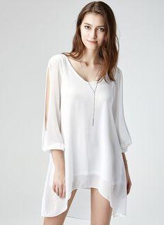 Vestidos Mezclas de algodón Llanura Asimétrico Manga larga (1019571) @ floryday.com