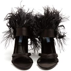 Prada Feather-trimmed satin sandals ($990) ❤ liked on Polyvore featuring shoes, sandals, strappy heeled sandals, black party shoes, black shoes, prada shoes and party sandals