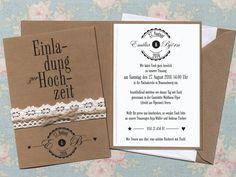 Diese wunderschöne Einladungskarte im Vintagestyle wurde von der Papierwiese in Handarbeit gefertigt.   Die Karte selbst ist aus einem festen Kraftpapier mit hohem Holzanteil. Das verleiht ihr...