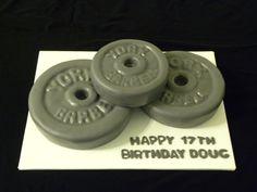 Barbells A and lemon cake. All fondant. Body Builder Cake, Fitness Cake, Gym Cake, Gateau Cake, Foundant, 21st Cake, Sport Cakes, Cake Shapes, Birthday Cakes For Men