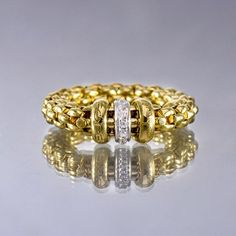 Fope Flex It Solo 18K Yellow Gold With Diamond Rondel Ring #JRDunn #Gold #Jewelry