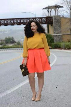 Tanesha awasthi love this skirt like orange coral, mustard top, print clutch, nude pumps
