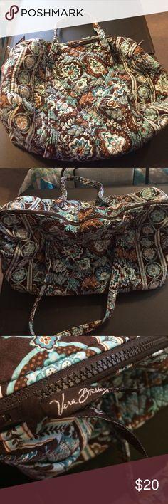 Median size Vera Bradley Duffle. Brown, turquoise and white Vera Bradley duffle bag. Gently used. Vera Bradley Bags