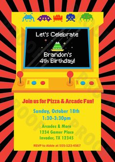 Arcade Game Personalized Kids Party Invitation (Printable Digital File) by VillaCustomCreations on Etsy
