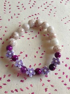 White and purple flower glass beaded handmade elasticated