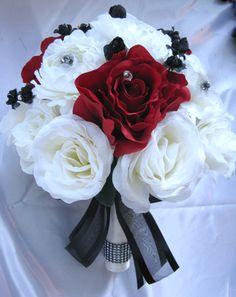 Wedding Bouquet Bridal Silk flowers CREAM IVORY APPLE RED BLACK 17 pcs package