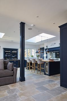 RSJ pillar cladded in dark blue painted panel to match bespoke kitchen - The Main Company Kitchen Family Rooms, Living Room Kitchen, Home Decor Kitchen, Interior Design Kitchen, Home Kitchens, Apartment Kitchen, Rustic Kitchen, Country Kitchen, Open Plan Kitchen Dining Living
