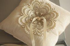 Wedding Pillows, Heirloom Ring Bearer Pillow - Product code NU Ivory, via Etsy. Ring Bearer Pillows, Ring Pillows, Wedding Ring Cushion, Wedding Pillows, Motifs Perler, Traditional Engagement Rings, Cool Wedding Rings, Beaded Rings, Flower Girl Basket