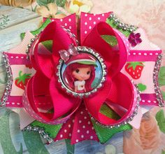 Strawberry Shortcake Hair Bow/Strawberry Shortcake Girls Party Bow/Strawberry Shortcake Inspired Bow/Girly Curl Bow/Pink Boutique Hair Bow by GirlyCurlBowtique on Etsy