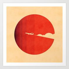 A simple, minimal, modern, contemporary, vintage illustration of an airplane, flying on the sky, departing against the red shining sun.. The long goodbye Art Print by Budi Satria Kwan - $19.97