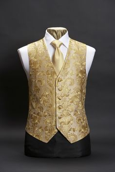 Gold silk embroidered waistcoat with large gold damask embroidery Nehru Jacket For Men, Men's Waistcoat, Nehru Jackets, Mens Tux, Mens Suits, Modi Jacket, Wedding Waistcoats, Morning Suits, Tuxedo Dress