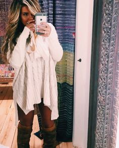 too excited for fall oversized chunky sweater dress boots
