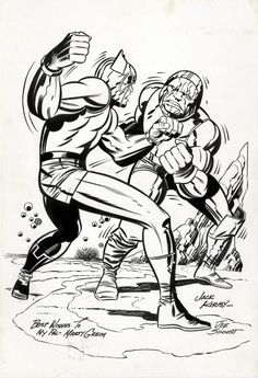thebristolboard:Original unpublished New Gods commission by... thebristolboard:  Original unpublished New Gods commission by Jack Kirby and Joe Sinnott.  Happy 100th birthday to the King of Comics!