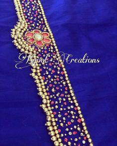Saree Belt, Saree With Belt, Saree Blouse, Hand Work Blouse Design, Simple Blouse Designs, Hand Work Embroidery, Hand Embroidery Designs, Vaddanam Designs, Dress Belts