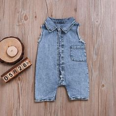 e4355109b78 Newborn Baby Boys Girls Sleeveless Jeans Romper Jumpsuit Children Clothes