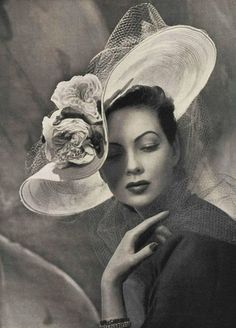 "Another pinner wrote: ""Olden"" days glam. I wish hats and hair flowers were back in style."
