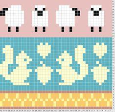 sheep, squirrel animal cross stitch (or knitting) pattern Fair Isle Knitting Patterns, Knitting Charts, Knitting Stitches, Baby Knitting, Vintage Knitting, Cross Stitch Charts, Cross Stitch Embroidery, Cross Stitch Patterns, Crochet Chart