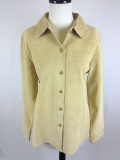 Pendleton Jacket Leather Light Beige Button Front Luxury Lined Womens Coat M | eBay