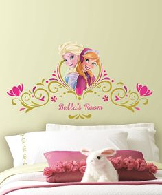 Take a look at this Frozen Elsa & Anna Peel-&-Stick Personalized Headboard Decals today!
