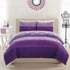 Elegant Ruched Purple Teen Girl Bedding Twin Comforter Set and Pillow Teenage Beds, Teenage Girl Bedrooms, Girls Bedroom, Bedroom Decor, Bedroom Ideas, Purple Bedrooms, Cozy Bedroom, Dream Bedroom, Kids Comforter Sets