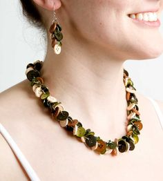 Items similar to Button Necklace and Earrings - Camo Colored on Etsy