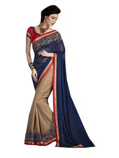 Description:- Chikoo & Blue Color Georgette Fabric Saree comes with Red color Bhagalpuri Fabric Lace patch Worked Blouse. This Amazing Saree has Beautiful sequence work on Border line below and Decorated stone work at Pallu with Red & Copper color Lace Border work with two side pipping. The Blouse can be Stitched upto size 44. Rate:- 2975/- For bookings:- Ring or Whatsapp on +919870725209 Shipping in India:- Free Cash on Delivery:- Available in India Worldwide Shipping:- Available