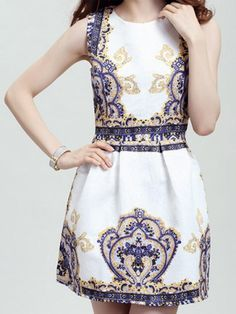 Retro Style Round Collar Sleeveless Printed Women's Dress