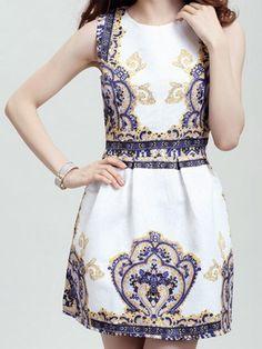 Retro Style Round Collar Sleeveless Printed Women's Dress