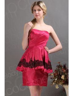 Strapless Short Mini Taffeta Red Bridesmaid Dress