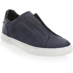 Tod's Cassetta Suede Slip-On Sneakers ($525) ❤ liked on Polyvore featuring men's fashion, men's shoes, men's sneakers, mens suede shoes, mens slip on shoes, mens slipon shoes, mens suede sneakers and mens slip on sneakers