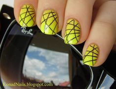Black lasers stamped over gradient neon manicure