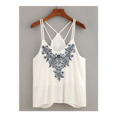 SheIn(sheinside) Flower Embroidered Strappy Cami Top ($14) ❤ liked on Polyvore featuring tops, white, spaghetti strap tank, spaghetti-strap tank tops, white camisole, strappy cami and white tank