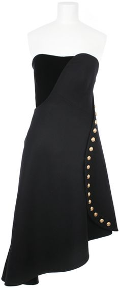 ALEXANDER MCQUEEN Light Felt Military Asymmetric Bustier Dress