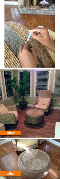 Before and After: From Tired Tire to Awesome Ottoman ~ By Nikki from That Was a What? @ http://www.thatwasawhat.blogspot.ca/2012/08/another-tire-saved-from-landfill.html / Appartment Therapy