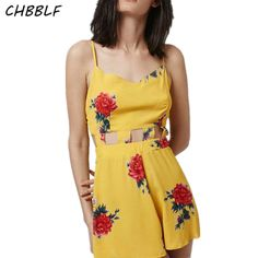 New Summer 2017 European Printing Jumpsuit Fashion Hollow Out Floral Playsuits Slim Women Jumpsuit  Pol0620 #Affiliate