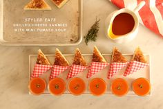 How to make and serve mini grilled cheese and tomato soup served in little glasses.