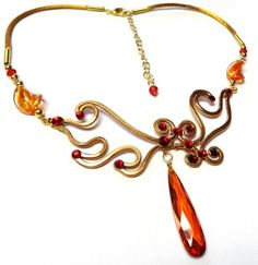 Flame Necklace in Copper with Red Swarovski Crystals