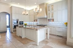 high cabinets! awesome island! great color