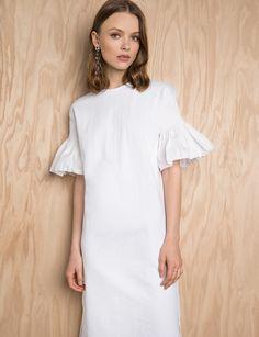 White Smocked Ruffled Sleeve Tee Dress