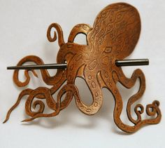 Leather Steampunk Pirate Octopus Hair Barrette. Any good pirate lady could use this! #pirates