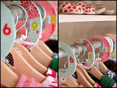 Closet organization for kids/babies with a lot of different sizes.....would make a great baby shower gift :D