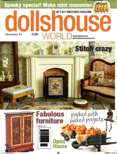 On the cover of Dolls House World magazine in September 2012 - a dollhouse room featuring needlepoint stitched from my kits