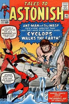 There's been a recent lull in crime, so Ant-Man and Wasp decide to vacation in Greece! But what began as a retreat quickly becomes a super hero smack down; Ant-Man and Wasp take on the mythological Cyclops! Marvel Comic Books, Comic Book Characters, Comic Books Art, Book Art, Old Comics, Vintage Comics, Jack Kirby, Tales To Astonish, Comic Book Collection