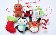 Fieltro peluche Navidad adornos - Santa Claus, muñeco de nieve, hombre de jengibre, Candy Cane y más - feliz Navidad decoración - conjunto de 7