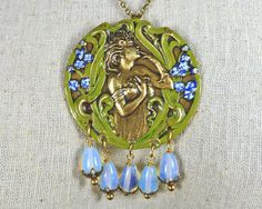 Art Nouveau Necklace in Green and Brass with Opalite by sandrandan, $28.00