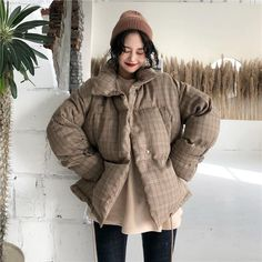 itGirl Shop | PLAID BEIGE CASUAL PUFF PADDED OUTWEAR JACKET Winter Puffer Jackets, Long Puffer Coat, Korean Fashion Winter, Asian Fashion, Snow Outfit, Kawaii Clothes, Aesthetic Clothes, Winter Outfits, Cute Outfits
