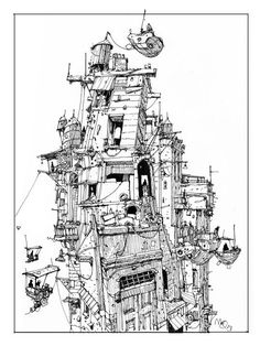 Sketchbook: Tower. Illustration Sketches, Drawing Sketches, Illustrations, Steampunk, Environment Sketch, House Drawing, Sketch Inspiration, Architecture Drawings, Urban Sketching